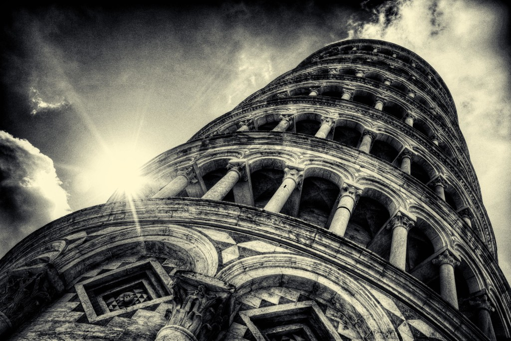 Leaning tower of Pisa black white architecture classic light arch