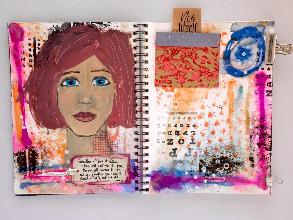 Big Hair Don't Care - Self Love Note, Get Messy Art Journal Challenge