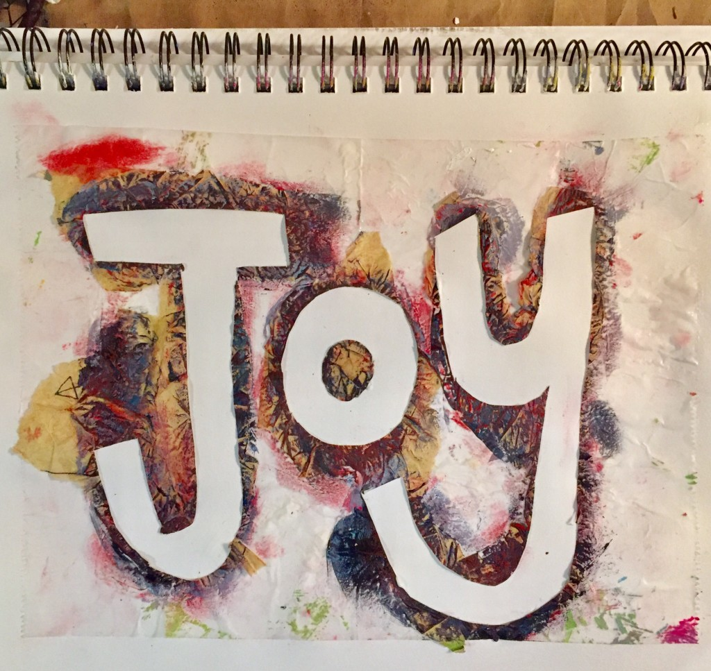 "The third and final try at ""Joy"" ended up like this. I think it makes sense this way, which joy being a calm presence in the middle of the color and movement of everyday. Do you agree?"